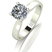 Moissanite Premium Collection 9ct White Gold 1ct Carat 4 Claw High Setting Solitaire Ring, White Gold, Size L, Women