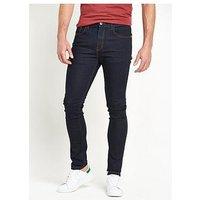 V by Very Skinny Fit Denim Jeans, Indigo, Size 40, Inside Leg Long, Men