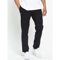 Lacoste Cuffed Ankle Fleece Trackpants, Black, Size 7, Men