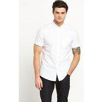 V by Very Short Sleeve Oxford Shirt, White, Size L, Men
