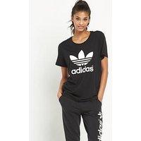 adidas Originals Trefoil Boyfriend Fit T-Shirt , Black, Size 10, Women