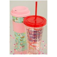 Fizz Unicorn Travel Mug & Straw Cup Twin Set, One Colour, Women