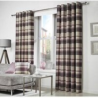 Westary Check Woven Lined Eyelet Curtains