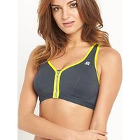 Shock Absorber Active Zipped Plunge Bra, Grey/Yellow, Size 34C, Women