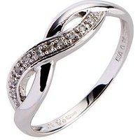 Love GOLD 9ct White Gold 6 Point Diamond Infinity Ring, White Gold, Size V, Women