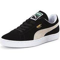Puma Suede Classic+ Mens Trainers, Black/White, Size 4, Women
