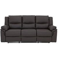 Product photograph showing Albion Luxury Faux Leather 3 Seater Manual Recliner Sofa