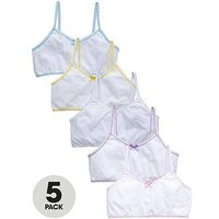 V by Very Girls Plain Crop Tops (5 Pack), White, Size 3-4 Years, Women