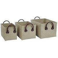 Set Of 3 Rectangular Storage Baskets - Grey