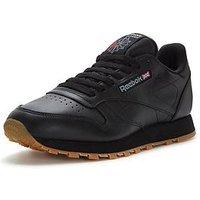 Reebok Classic Leather, Black, Size 5, Women