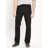Wrangler Durable Straight Jeans, Black, Size 38, Inside Leg Short, Men