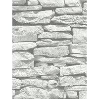 Arthouse Moroccan Stone Brick Wall Wallpaper - White
