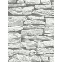 Product photograph showing Arthouse Moroccan Stone Brick Wall Wallpaper - White