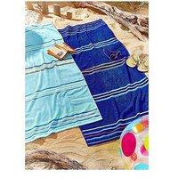 Product photograph showing Catherine Lansfield Rainbow Beach Towel Pair Blue Amp Aqua
