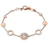 Fossil Rose Gold Plated Crystal Set Disc Bracelet, One Colour, Women