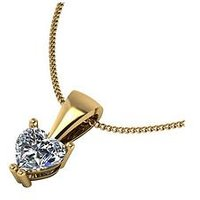 Moissanite 9ct Gold 50 Point Heart Pendant, Yellow Gold, Women