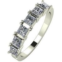 Moissanite 9ct Gold 1.05 Carat Princess Cut Six Stone Eternity Ring, Yellow Gold, Size T, Women