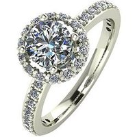 Moissanite 9ct Gold 1.25 Carat Round Brilliant Cut Ring With Stone Set Shoulders, White Gold, Size I, Women