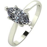 Moissanite 9ct Gold 1 Carat Marquise Cut Solitaire Ring, White Gold, Size U, Women