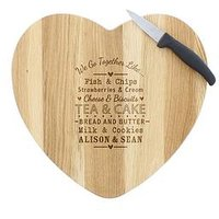 Personalised 'We Go Together' Heart Chopping Board