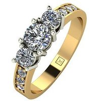 Moissanite Lady Lynsey 9ct Gold 1ct total Round Brilliant Moissanite Trilogy Ring With Stone Set Shoulders, Yellow Gold, Size S,