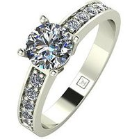 Moissanite 9ct Gold 1 Carat Round Brilliant Solitaire Ring with Stone Set Shoulders, White Gold, Size J, Women