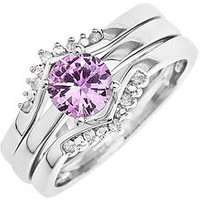Love GOLD 9ct White Gold Created Pink Sapphire and 8 Point Diamond 3 Piece Ring Set, One Colour, Size N, Women