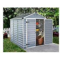 Product photograph showing Palram 6x8 Ft Skylight Double Door Shed - Anthracite