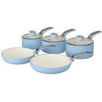 Swan Retro 5-Piece Pan Set - Blue
