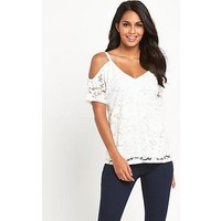 V by Very Cold Shoulder Lace Top, Cream, Size 24, Women