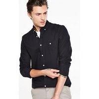 V by Very Long Sleeve Oxford Shirt, Black, Size Xl, Men