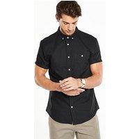 V by Very Short Sleeve Oxford Shirt, Black, Size Xl, Men