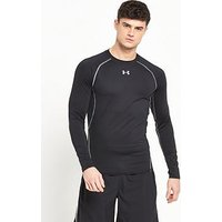 UNDER ARMOUR Mens Heatgear Long Sleeve Tee, Black, Size L, Men
