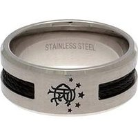 Rangers Stainless Steel Black Inlay Crest Ring, One Colour, Size Small, Women