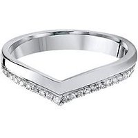 Love DIAMOND 9Ct White Gold 15 Point Diamond Wishbone 3mm Wedding Band, One Colour, Size K, Women