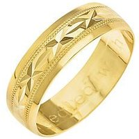 Love GOLD 9ct Yellow Gold Diamond Cut 6mm Wedding Band With Message 'Sealed With A Kiss', One Colour, Size H, Women
