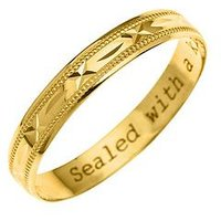 Love GOLD 9ct Yellow Gold Diamond Cut 4mm Wedding Band With Message 'Sealed With A Kiss', One Colour, Size N, Women
