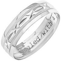 Love GOLD 9ct White Gold Diamond Cut 6mm Wedding Band With Message 'Sealed With A Kiss', One Colour, Size T, Women