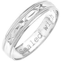 Love GOLD 9ct White Gold Diamond Cut 4mm Wedding Band With Message 'Sealed With A Kiss', One Colour, Size Y, Women