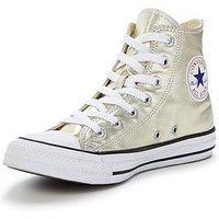 Converse Chuck Taylor All Star Seasonal Metallics Hi-Tops , Light Gold, Size 7, Women