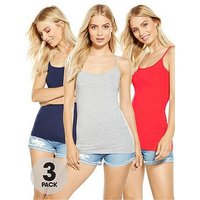 V by Very Strappy Vests (3 Pack), Multi, Size 18, Women