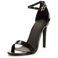 V by Very Bella Ankle Strap Minimal Heeled Sandal , Black, Size 6, Women