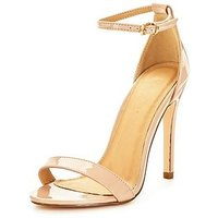 V by Very Bella Ankle Strap Minimal Heeled Sandal , Nude, Size 8, Women
