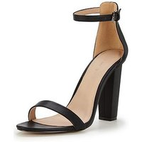 V by Very Petals Block Heeled Sandal With Ankle Strap , Black, Size 8, Women