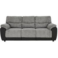Product photograph showing Sienna Fabric Faux Leather Static 3 Seater Sofa