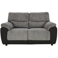 Product photograph showing Sienna Fabric Faux Leather Static 2 Seater Sofa