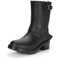 V by Very Bridge Biker Style Wellington Boot , Black, Size 8, Women