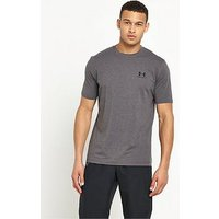 UNDER ARMOUR Charged Small Logo T-Shirt, Carbon Heather, Size L, Men
