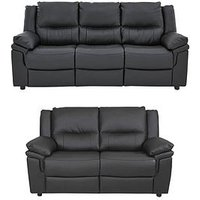 Product photograph showing Albion Luxury Faux Leather 3 Seater 2 Seater Sofa Set Buy And Save