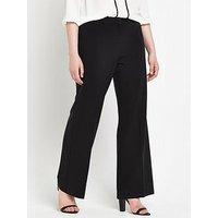 V by Very Curve Basic Wide Leg Trouser, Black, Size 16, Inside Leg Regular, Women
